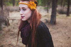 Sunset Yellow Starlette Crocheted Headband by ShopLadyLike on Etsy, $18.00