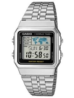CASIO CASIO COLLECTION   A500WEA-1EF Montre Radio Pilotée, Casio Silver  Watch, Casio 4e3bed977a06