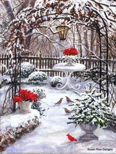 A Merry Spot by Susan Rios ~ winter patio . Christmas Scenes, Christmas Art, Winter Christmas, Vintage Christmas, Christmas Decorations, Winter Scenery, Winter Garden, Christmas Pictures, Beautiful Paintings