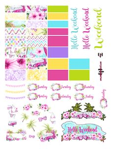 @planner.PICKETT: FREE Hello Summer Deluxe 3 page planner sticker printable