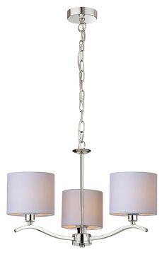 Elementem przykuwającym uwagę w lampie Zuma Line Carmen jest chromowany łańcuch, na którym zawieszona jest lampa. Pozostałe elementy lampy wykonane są również z chromowanego metalu, a 5 żarówki schowane są pod kloszami wykonanymi z tkaniny. Chandelier, Ceiling Lights, Lighting, Home Decor, Products, Chandeliers, Candelabra, Decoration Home, Room Decor