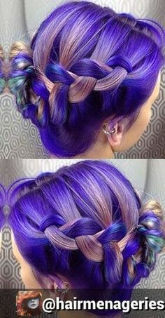 I'm in love with beautifully colored hair. Thank you sisters for being so adventurous and stylish. Ich bin verliebt in wunderschön gefärbte Haare. Danke Schwestern, dass Sie so abenteuerlich und stilvoll sind. Purple Braids, Purple Hair, Ombre Hair, Pastel Hair, Beautiful Hair Color, Cool Hair Color, Hair Colors, Pelo Multicolor, Bright Hair