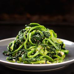 ... favorite vegetable (spinach) with garlic sesame dressing from scratch