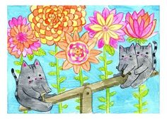 """""""Kitty Cat Teeter Totter"""" 5x7 Fine Art Print by MyZoetrope"""