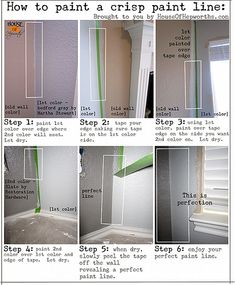 How to paint straight lines on walls/baseboards of different colors.  crisppaintlinescaled by benhepworth, via Flickr