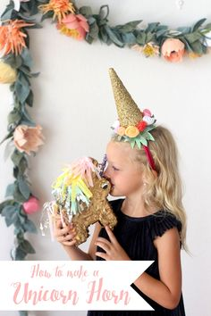 Craft this DIY unicorn horn headband for the birthday girl!