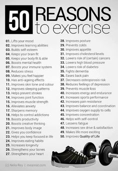 50 reasons to exercise #fit #strong #fast #happy #health #exercise #muscletone #weightwatchers #weightloss #weightmanagement