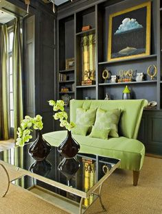 Spring green with dark grey works really well; a great way to use Pantone's Greenery in your home.