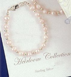 """$27.95Pink Freshwater Pearl and Sterling Baby Bracelet - 5"""""""