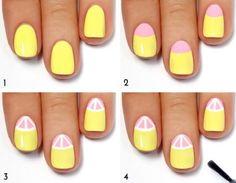 décoration ongles étape par étape  en jaune et rose