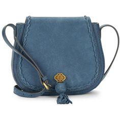 Nanette Lepore Santana Leather Saddle Bag ($198) ❤ liked on Polyvore featuring bags, handbags, shoulder bags, bolsas, purses, denim, blue leather shoulder bag, leather shoulder handbags, man bag and hand bags
