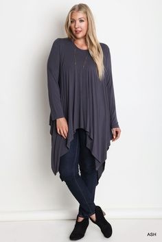 NWT Umgee WA1657 Long Sleeve Knit Trapeze Tunic  Ash Gray  Cotton Blend XL 1X 2X #Umgee #Tunic #Casual