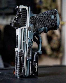 Not a Glock fan, but I like the Statement Defense slide! Weapons Guns, Guns And Ammo, Zombie Weapons, Armas Ninja, Custom Guns, Custom Glock 43, Military Guns, Cool Guns, Tactical Gear