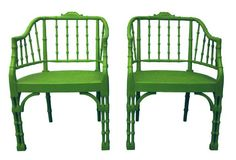It's Easy Being Green   Green Decorating   the Color Green!   antique #chinoiserie faux bamboo barrel chairs from First Dibs