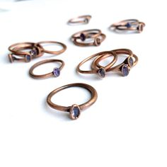 Faceted tanzanite ring | Faceted stone stacking ring | Copper & tanzanite stack ring | Electroformed jewelry | Raw mineral stone jewelry by HAWKHOUSE #TrendingEtsy