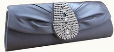Very Royal looking silver gray silk wedding clutch purse studded with rhinestones and it comes with a chain tucked inside.
