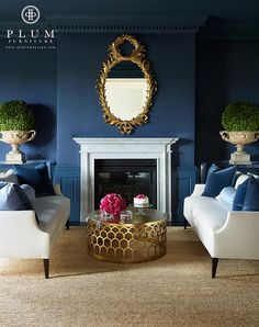 McGill Design Group - living rooms - The Whitney Sofa, The Hicks Table, brass coffee table, round brass coffee table, face to face sofa, blue walls, white and blue living room, #laylagrayce #bunnywilliamshome
