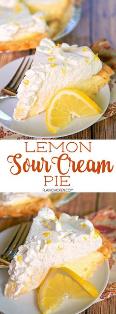 Lemon Sour Cream Pie - quick homemade lemon and sour cream filling topped with fresh whipped cream. SO light and delicious! A new favorite!! Great for potlucks and the holidays.