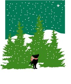 greeting cards black lab in evergreens with snow by LizzyClara, $12.00