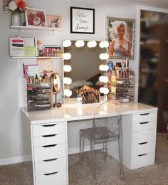 When you finally get dream vanity mirror to complete your dreamy vanity set up. #swoon #ImpressionsVanityGlowXL #repost @lauratraum Finally got my dream vanity mirror from @impressionsvanity Featured: #ImpressionsVanity Hollywood GlowXL with Frosted LED Bulbs + @ikeausa Alex Drawers & Linnmon Tabletop