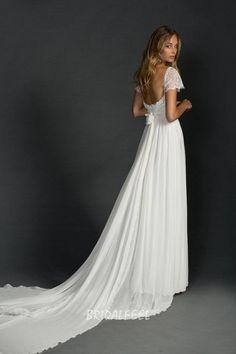 chiffon lace long tail beach wedding dress