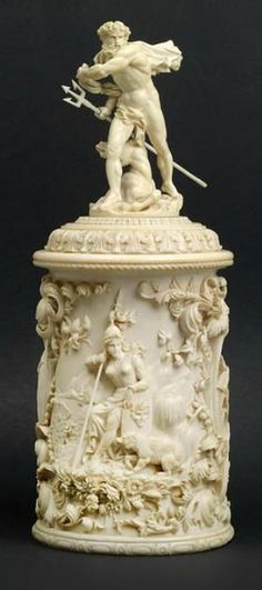 Ivory Deckelbehälter,  round, richly figurative und floral carving on sides, socket lid crowned with a three-dimensional Neptune, height 28,2 cm, Germany, 19th century