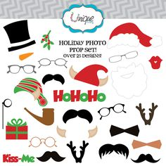 101 days of christmas printable photo booth props roundup 25 off instant download 26 christmas and holiday elements digital clip art solutioingenieria Image collections