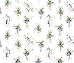 Ballerina Splash in Pink and Teal fabric by gypsymothdesign on Spoonflower - custom fabric