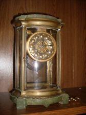Fine Antique Marti Brass & Marble Crystal Regulator Mantle Clock