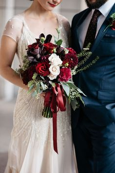Dark Red and white winter wedding bouquet