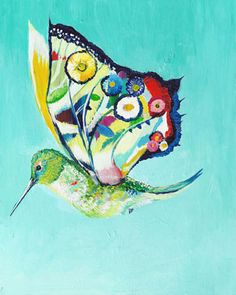 It's a bird, It's a butterfly, It's a hummingbird... *giggle* Paint A Bird A Day Blog is full of colorful paintings.