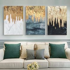 3 pieces Original Abstract gold leaf waterfall black and white Acrylic Painting On Canvas Wall Art home Decor art Picture cuadros abstractos White Acrylic Paint, White Acrylics, Acrylic Painting Canvas, Painting Frames, Acrylic Art, 3 Piece Canvas Art, Canvas Wall Art, Art Sur Toile, Diy Wall Decor