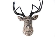 Black and White Paisley Fabric Deer Head  Faux by NearAndDeer, $194.99