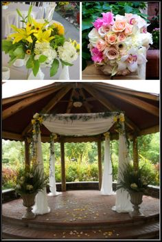 Wedding flowers; Outdoor Alter; Canopy with flowers; Wedding bouquet