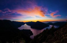 Lake Crescent Sunset  A sunset shot of Lake Crescent located within Olympic National Park in Clallam County, Washington.  sunset Lake Crescent Olympic National Park Clallam County Washington beautiful wilderness outside PNW outdoors pacific northwest explore view views quest live authentic outbound