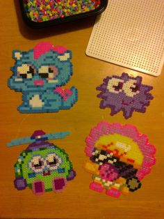 Moshlings Moshi Monsters perler bead by Kandi Patterns, Beading Patterns, Fuse Beads, Perler Beads, Moshi Monsters Toys, Bead Crafts, Diy Crafts, Monster Crafts, Reese's Pieces