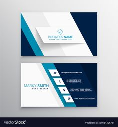 Modern blue and white business card template vector image on VectorStock Create Business Cards, Business Cards Layout, Beauty Business Cards, Professional Business Card Design, Business Card Psd, Minimalist Business Cards, Simple Business Cards, Game Design, Web Design