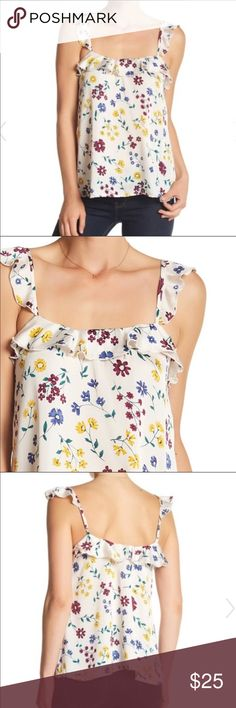 Free Press Satin Ruffle Cami Size L This is a cute cami; scoop neck, sleeveless, ruffle detail throughout, allover floral print. 100% Polyester. True to size. Free Press Tops Tank Tops