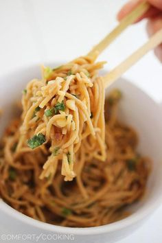 Asian soy peanut noodles... serve with marinated chicken breast... voila..add a little fish sauce & red pepper flakes next time!
