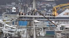 Sailing ship ' Statsraad  Lehmkuhl' arriving in Bergen, Norway, after a three month journey across the Atlantic