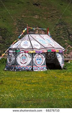Tibetan tent house in the Himalayan foothills.