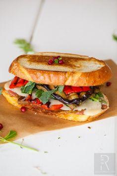 Mediterranean Grilled Cheese Sandwich with Walnut Pesto Seitan.