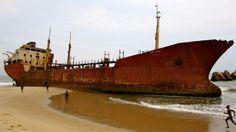 The Panagia F. at Shipwreck Beach, Praia Santiago, Angola.