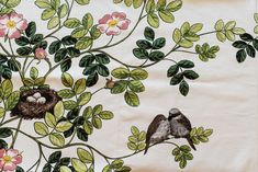 Birds table cloth, Swedish fabric table cloth, colorful table cloth, wild roses, nests and birds fabric, summer table cloth by Stitchingnoob on Etsy
