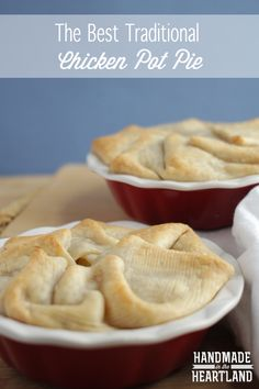 The Best Traditional Chicken Pot Pie, delicious , filling and nostalgic this recipe will have you completely satisfied and comforted! HandmadeintheHeartland.com