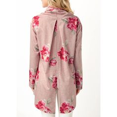 Rotita Flower Print Back Slit Cowl Neck Blouse (7.845 HUF) ❤ liked on Polyvore featuring tops, blouses, pink, cowl neck blouse, pink top, pink blouse, pink floral top and floral-print blouses