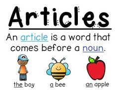 Parts of speech- Articles (a, an, the) Anchor Chart