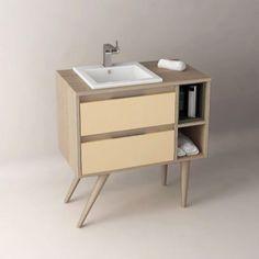 Meuble de salle de bain Cambrian 80 cm à poser, personnalisable, pour vasque…