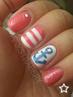 Coral, Stripes & Anchor