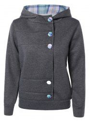 SHARE & Get it FREE | Trendy  Hooded Long Sleeve Colorful Button Pocket…